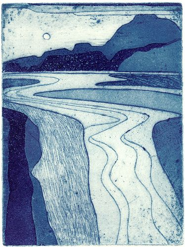Welsh Estuary II by John Brunsdon - masterful control of line, space and a beautiful balance of tone. Despite its simplicity, this is a really great print.