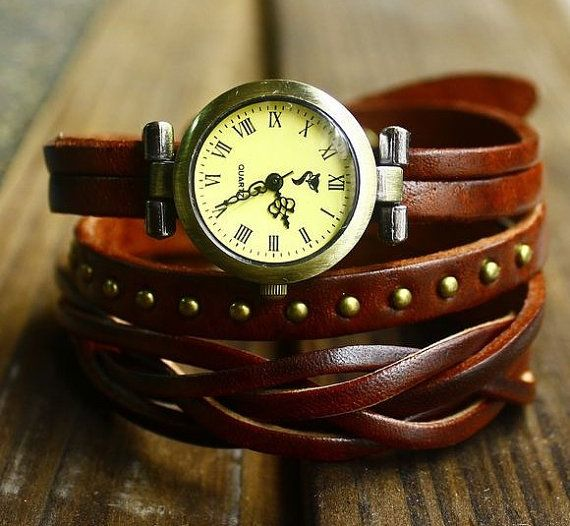 Vintage Style Chocolate Leather Bracelet Wrap by braceletcool, $15.98 #watches…