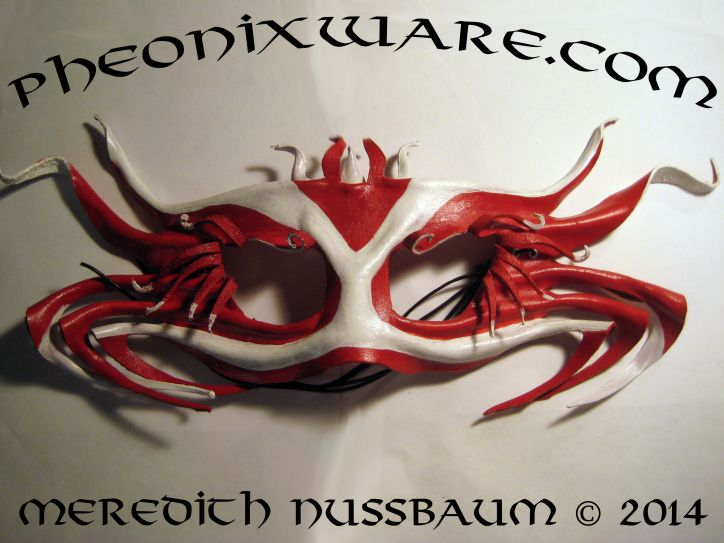 Sebastian Red and White Leather Crab Inspired Mask For Sale $130 + Shipping Contact:PheonixWareMasks@gmail.com