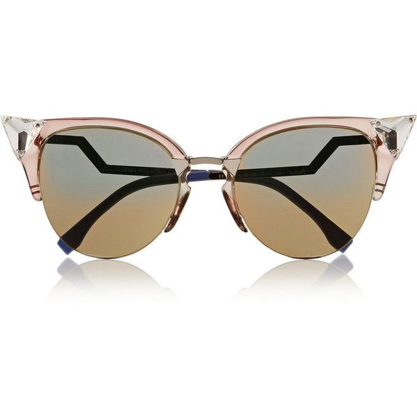Fendi Crystal-embellished cat eye Optyl™ sunglasses (€445) ❤ liked on Polyvore featuring accessories, eyewear, sunglasses, glasses, очки, grey, lightweight sunglasses, fendi, retro cat eye sunglasses and retro style sunglasses