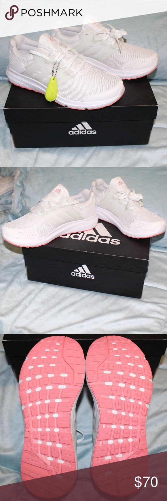 NEW Adidas Cloudfoam Galaxy 4 Running Shoes 7.5 Selling new in the box Adidas Cloudfoam Galaxy 4 Women's Running Shoes. These are white with pink accents (on the bottom of the shoe & in the logo on the tongue) These Sneakers are size 7.5. These are ultra comfortable & super cute! Selling other sizes on other listings. I have previously sold this size (see other listing) and they were popular so I added more! Multiple are listed - price is for each indivually.  adidas sneakers, adidas shoes…