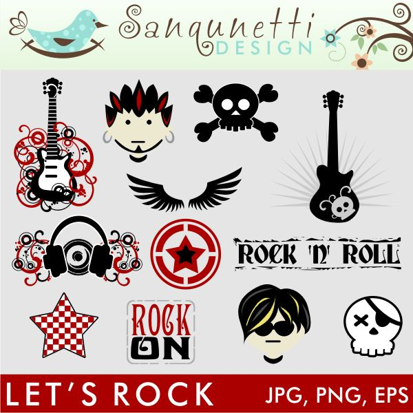 Twelve awesome rock themed graphics are included in this set.  Perfect for a rockin boys birthday party invites and more!