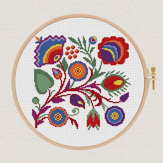 Polish Flowers modern cross stitch pattern geometric Ethnic