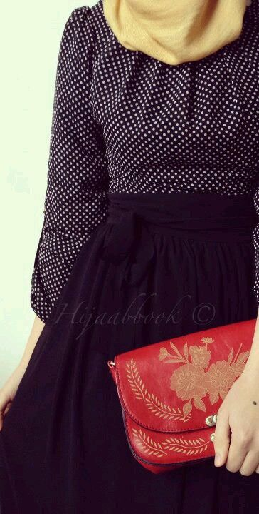 Polka Dots Outfit |  Go for smaller polka dots for a less prominent oufit. | tags:.hijab, hijab style