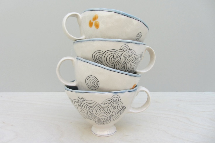 Ceramic Cycles Teacup  by Elizabeth Benotti