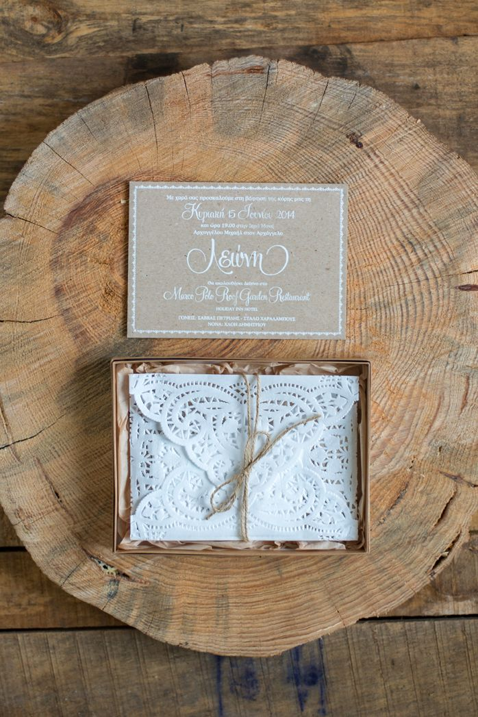 Rustic invitation card with a doily envelope - Wedding invitation by Atelier Invitations