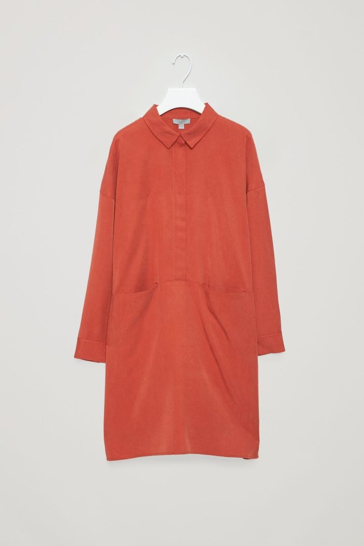 COS image 4 of Oversized shirt dress in Red
