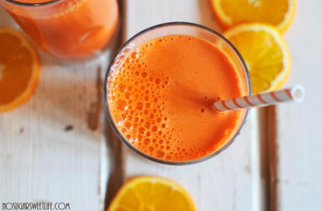 """Everyone drinks OJ for breakfast, but why not bulk up the nutrients with this """"Good Morning"""" Juice?! Yes, there's oranges. But there's also carrots and sweet potatoes.  It will get you energized and ready to face the day!  It's light. It's refreshing. And it's packed with nutrients. Oh, and it's beautiful!  Ingredients:  2  Peeled sweet potatoes  6  carrots  4  oranges  serve over ice"""