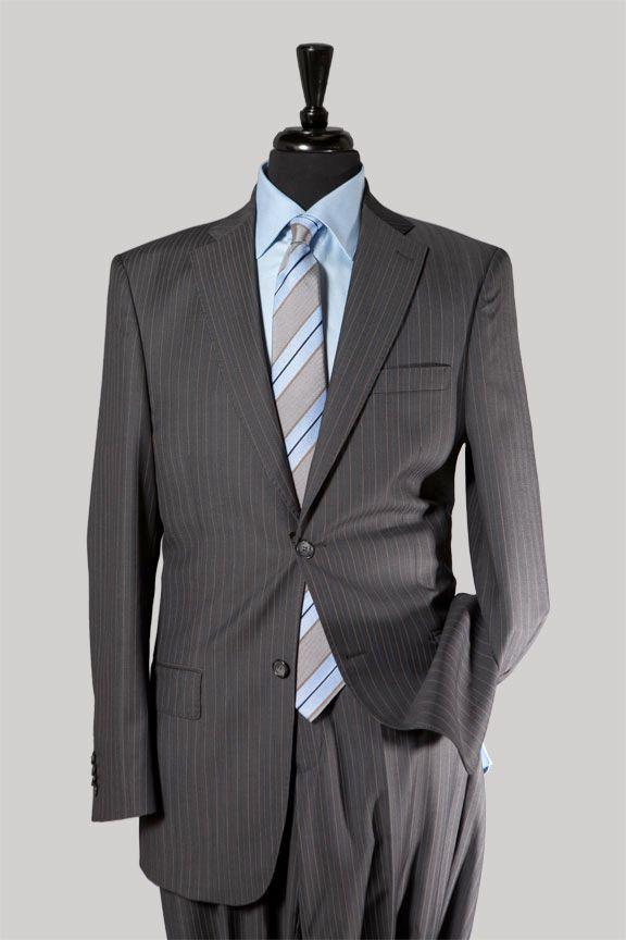 Dark Grey Pinstripe Suit, Classic Cut #GreySuit $547