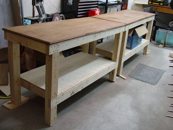 Workbench Design Ideas garage workbench in minimalist and modern look rustic look cement floor yellow flash light traditional Workbench Plans 5 You Can Diy In A Weekend