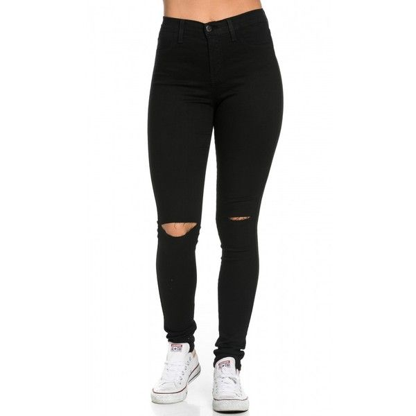 High Waisted Knee Slit Skinny Jeans in Black ($40) ❤ liked on Polyvore featuring jeans, bottoms, calças, pants, slim jeans, stretch skinny jeans, stretch jeans, stretchy jeans and high-waisted jeans