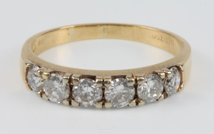 Lot 642, An 18ct yellow gold 6 stone diamond ring, approx 1.2ct, size P sold for £460