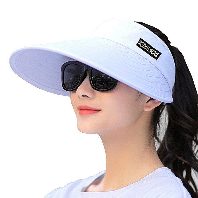 Sun Visor Hats Women 5 5 Large Brim Summer Uv Protection Beach Cap All White Sun Visor Hat Visor Hats Visor
