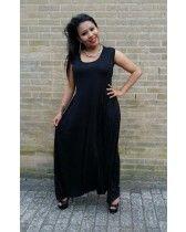 Jumpsuit Fatma zwart kreuk tricot