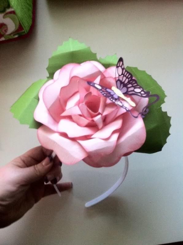 Rose headband with Cricut Giant Flower...beautiful!