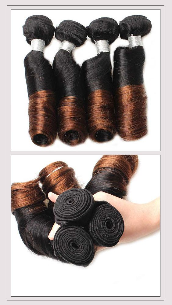 Ombre Color Peruvian Spring Curly Virgin Remy Hair Weave 3 Bundles