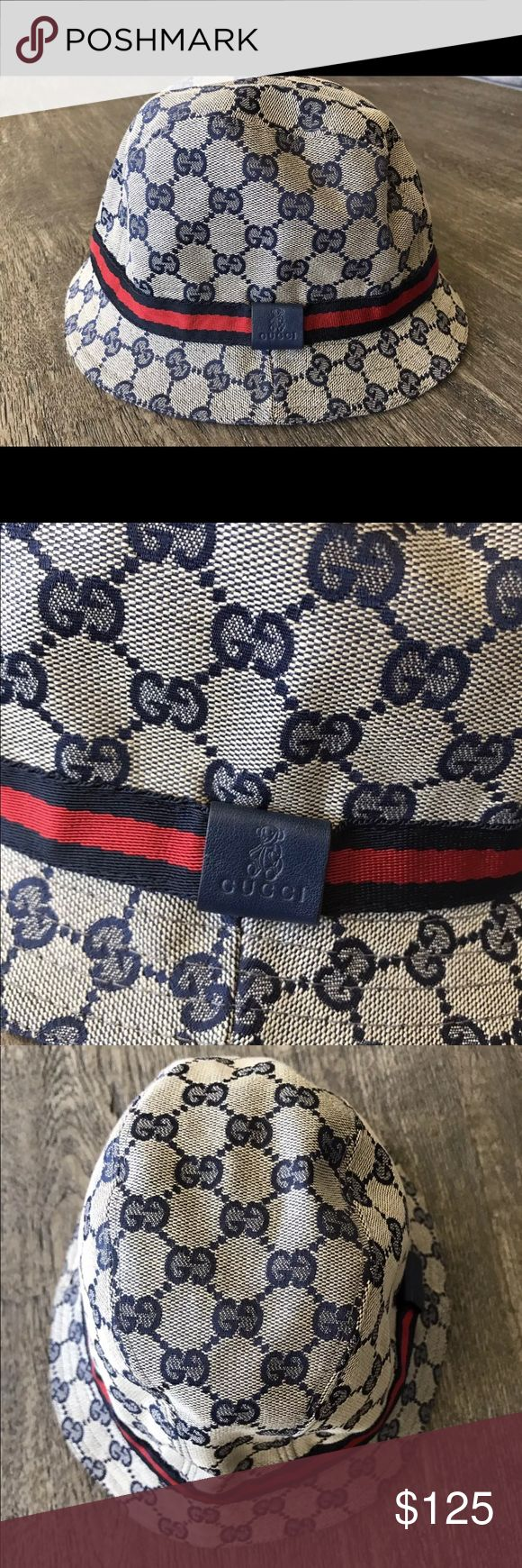 GUCCI Kids unisex bucket hat medium GG &web detail In GREAT condition! This adorable children's Gucci Bucket hat is a size medium   All items I sell are 100% authentic and come from a pet-free and smoke-free home. If you have any questions, please feel free to ask. Make sure you check out my other listings for more great deals!! Gucci Accessories Hats