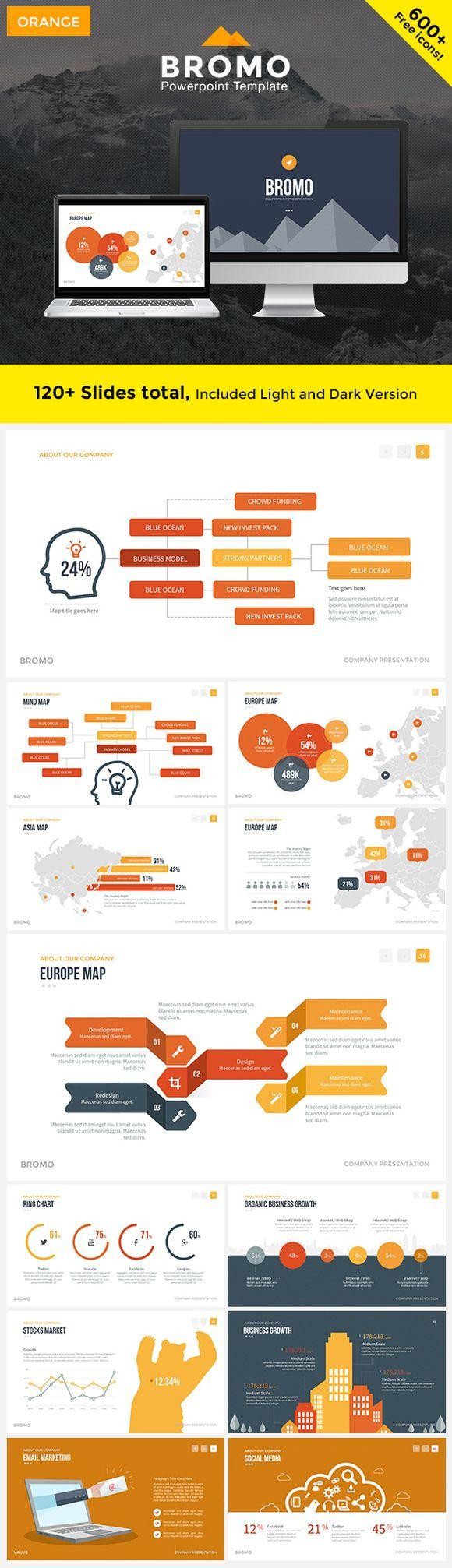 BROMO - Powerpoint Template (ORANGE) by slidecartel on Creative Market
