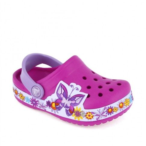 Sandale plaja fete Butterfly Clog Candy Pink - Crocs