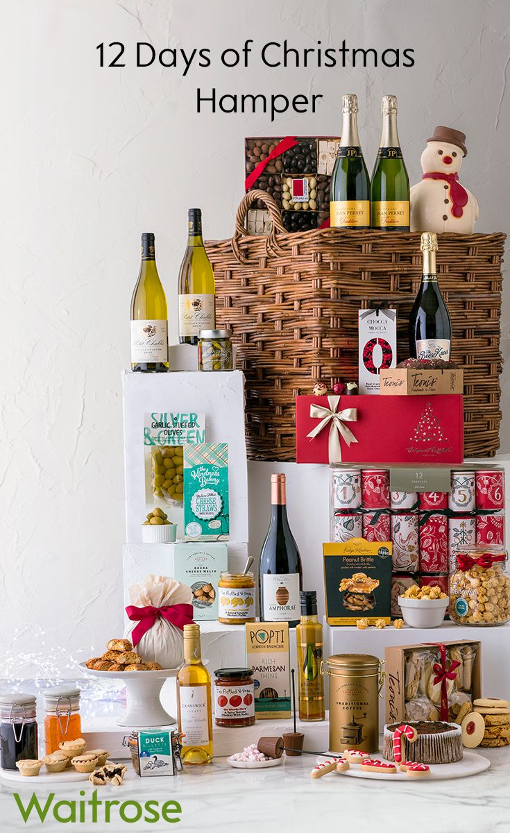 From champagne and chocolate to crackers and cake, this impressive hamper has something for the whole family. Enjoy it for the full 12 days of Christmas! To see more delicious hampers, see the Waitrose Gifts website.