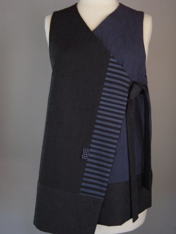 Line Lapel Vest in Black with 3 Silk Accent Stripes