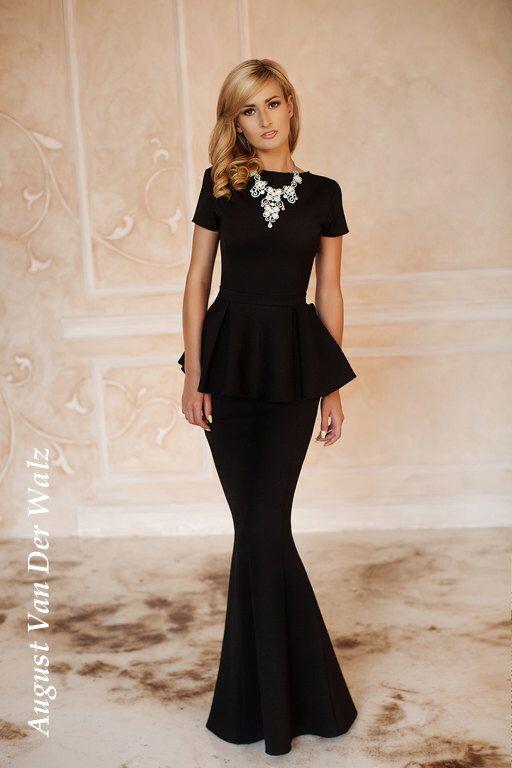 Peplum Dress Black, Spring Dress, Autumn Dress, Maxi dress, short sleeve dress, dress with Basque, High Quality Designer dress, Winter dress by AugustVanDerWalz on Etsy https://www.etsy.com/listing/241045071/peplum-dress-black-spring-dress-autumn