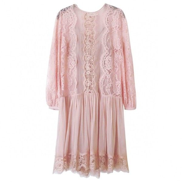 Pre-owned Zimmermann Silk Mid-Length Dress ($407) ❤ liked on Polyvore featuring dresses, pink, women clothing dresses, preowned dresses, mid length cocktail dresses, pink cocktail dress, pink dress and mid length dresses