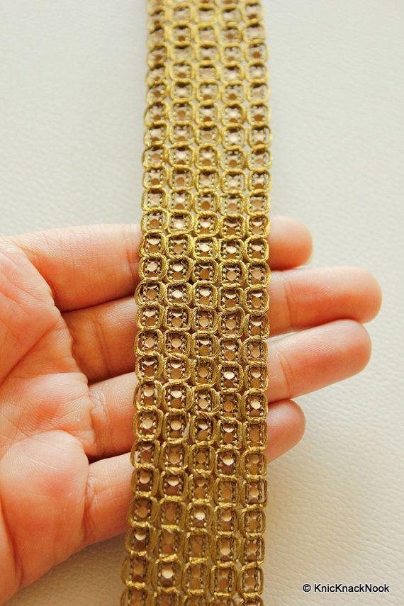 Antique Copper Thread and Sequins Lace Trim