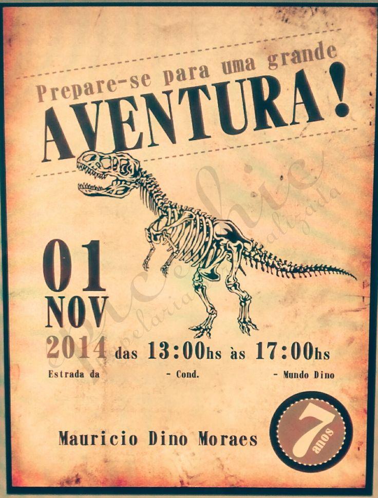 Convite tema Dinossauro <br>Pode ser desenvolvido em qualquer tema.