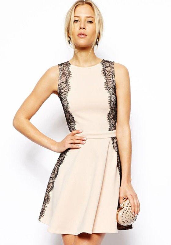 Light Pink Patchwork Lace Round Neck Dacron Dress