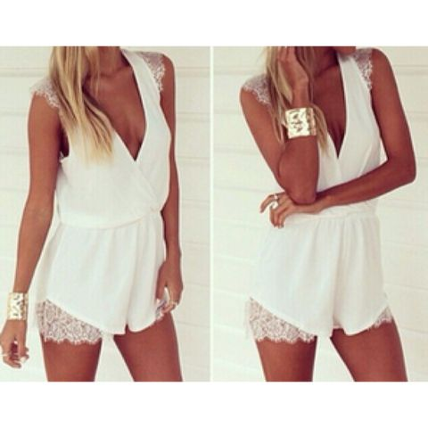 New White Lace Embellished Deep-V Playsuit now available at Ruby Liu! ♥ http://rubyliuboutique.com/collections/lace