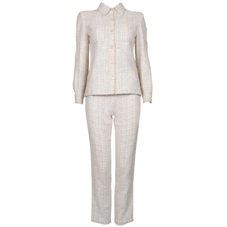 Chanel Ivory Boucle Trouser Suit S/S 2002 | From a collection of rare vintage suits, outfits and ensembles at https://www.1stdibs.com/fashion/clothing/suits-outfits-ensembles/