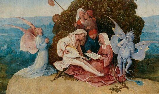 Bosch, Saman Arabası,1500 detay  Arabanın üstünde şehvet günahında suçlu olanlar yer alıyor. Çalılar arasında kucaklaşan köylü çift.   Şehvet uyandırıcı bir müzik çalan bir adam ve bu melodiye eşlik eden şeytani bir figür.