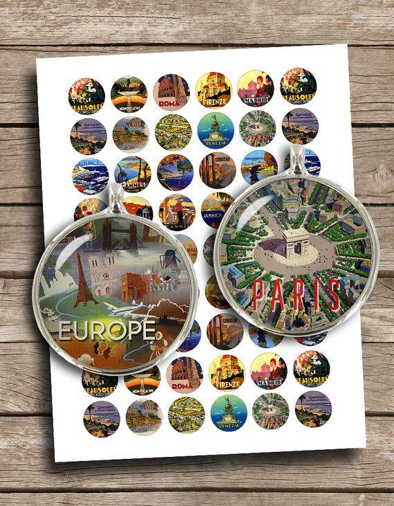 """Vintage Travel Posters 1"""" 1.5"""" 25mm 20mm Printable images  Digital Collage Sheet - Instant Download"""