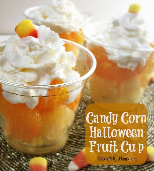 Candy Corn Halloween Fruit Cup is the perfect healthy treat for kids or adults!  Easy to make and serve too!