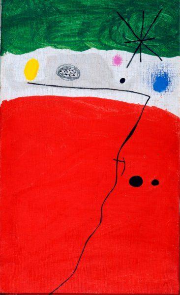 Joan Miró, Uccello nella notte, 1967-1968, Olio e matita su tela, 41 x 24,4 cm, Barcellona, Fundació Joan Miró © Succession Miró, by SIAE 2010