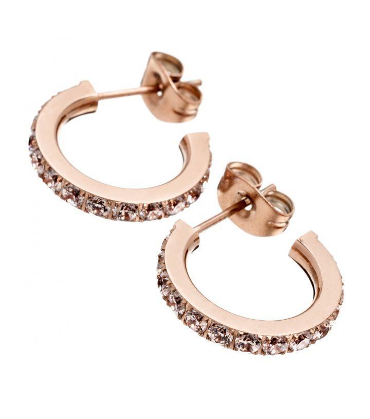 Glow earrings, rose gold Featuring Cubic Zirconia gemstones  Width 2mm, diameter 15mm