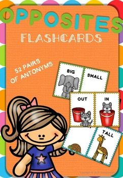This pask has 52 flashcards of opposites (antonyms) to learn vocabulary and play. A total of 40 concepts.Just print, cut and laminate. In the next page youll find the complete list of words you have purchased.Each card has a dotted line down the middle so you can fold it and have a double sided flashcard to play with.Or if you preferYou can cut down the middle and have them find pairs of opposite words or play memory.-Above/Below-Front/Back-Big/Small-White/Black-Clean/Dirty-Open/Closed…