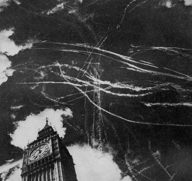 I cant imagine this all happening in the sky above me-The contrails left by dogfights between the RAF and the Luftwaffe on September 15, 1940. On this day the the RAF claimed 176 aircraft Luftwaffe shot down in two major raids on London. This day was the turning point for the campaign and became known as Battle of Britain Day.