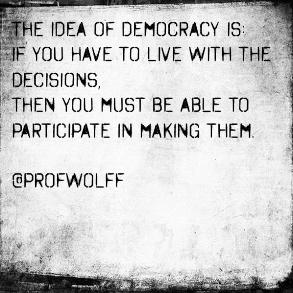 """""""From one of our co-founders Professor Richard Wolff"""" this represents democracy to me because it sorta describes what democracy is to me."""