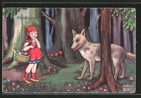 Künstler-AK Margret Boriss: Roodkapje, Rotkäppchen und der böse Wolf 0