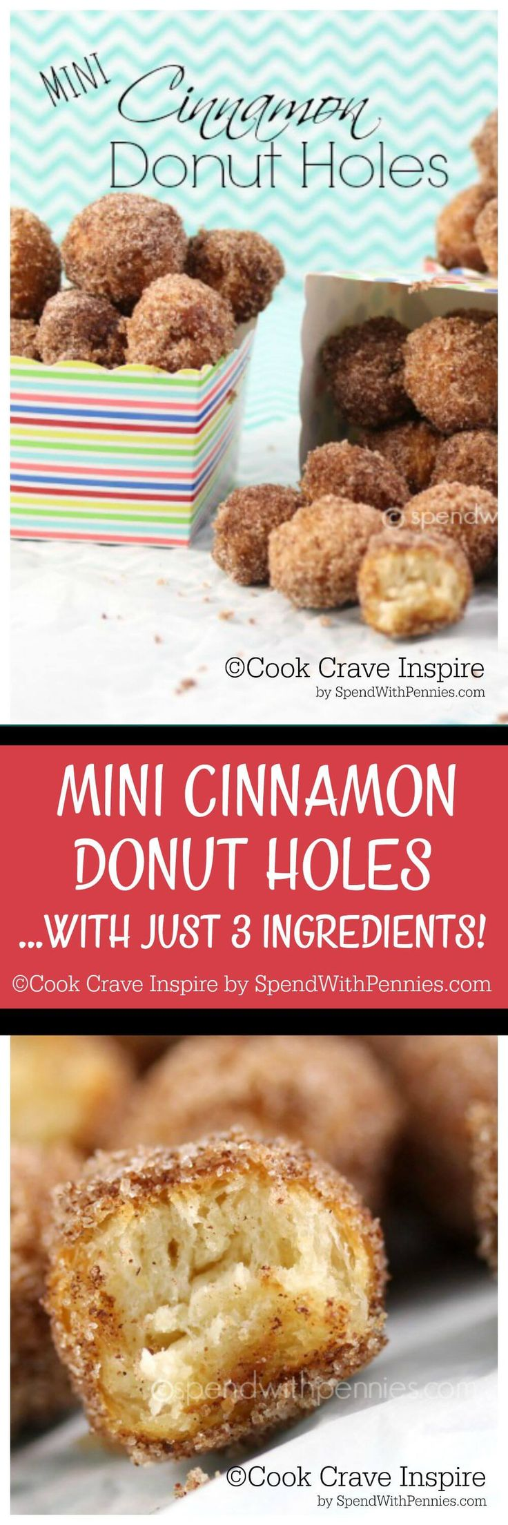 Mini Cinnamon Donut Holes! If you like cinnamon sugar mini donuts at the fair, you'll LOVE these! Easy & quick, little treats need just 3 ingredients!