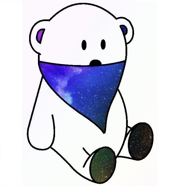 white bear & space bandana