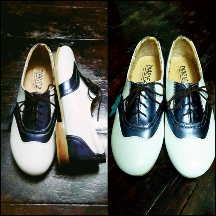 Black and white two tone oxford flats. SolSmile/Diariez are now taking special orders for leather soles on their Oxfords! (Yay! if you're a dancer) High quality hand made to order, genuine leather upper, inner and outer. $150 (Australian), ships internationally. Shop at solsmile.com.au. (email to order special leather soles) Oxfords, Lindy Hop, Swing, dance shoes, Retro, two-tone