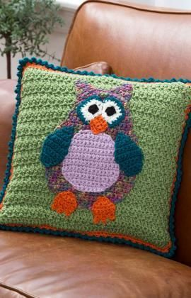Whimsical Owl Pillow Free Crochet Pattern from Red Heart Yarns