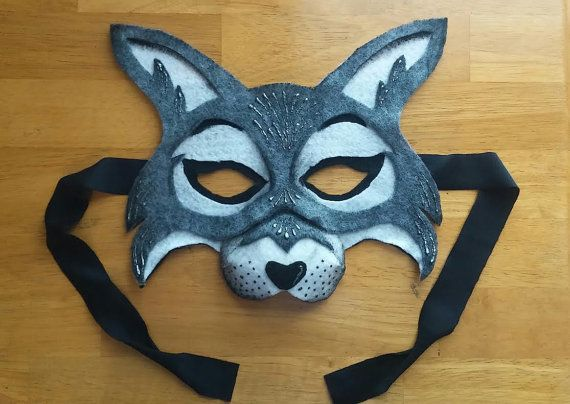 Animal forest Wolf Kids Mask red riding hood grey by Iloveluviart