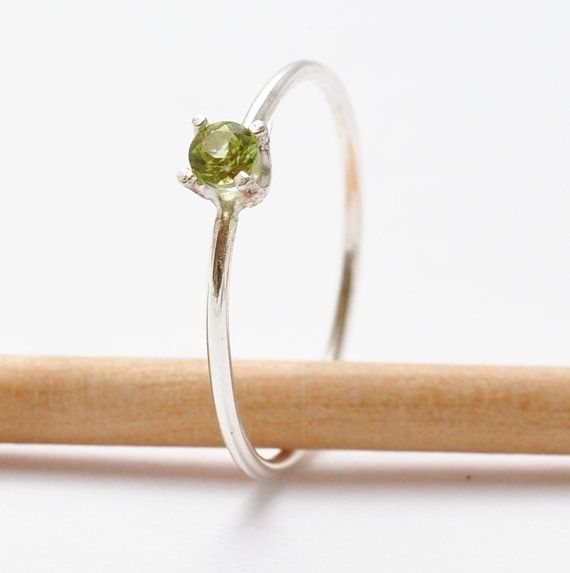 Peridot Ring Gemstone - Simple Peridot Ring- Tender Shoots Sterling Silver Peridot Ring- Delicate Skinny Ring- August Birthstone on Etsy, $46.00