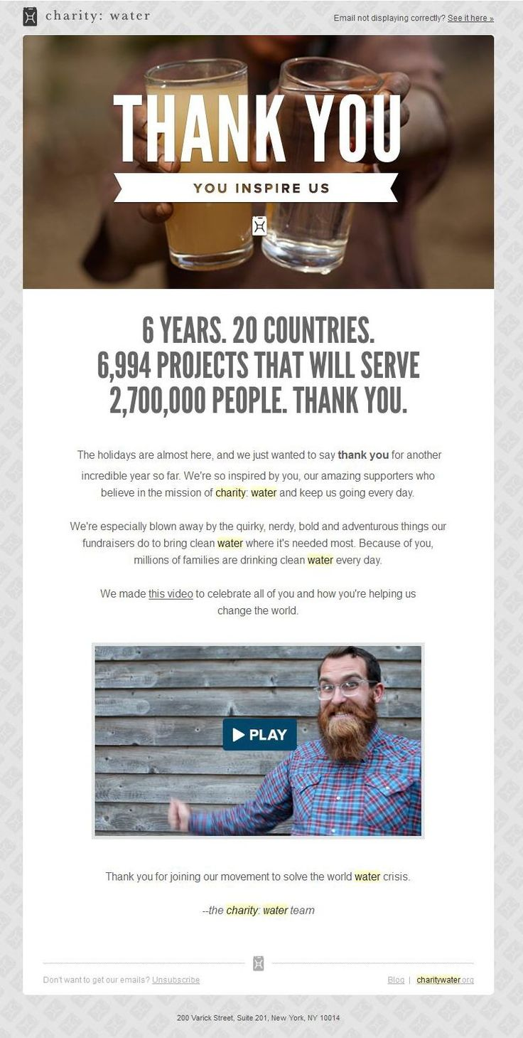 charity: water Thanksgiving emails