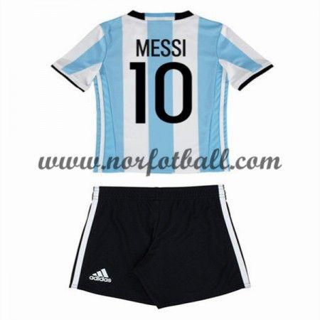 Argentina 2016 Fotballdrakter Barn Lionel Messi 10 Kortermet Hjemme Draktsett Fotball