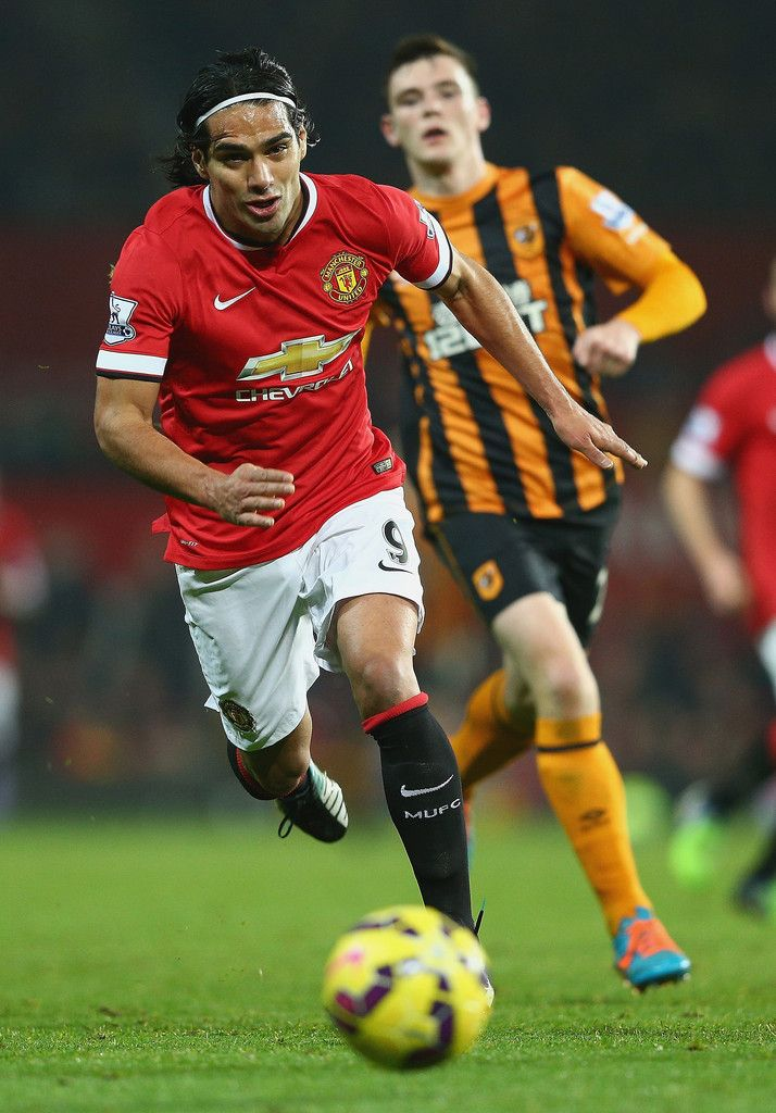 Radamel Falcao García of Manchester United on the ball during the Barclays Premier League match between Manchester United and Hull City at Old Trafford on November 29, 2014 in Manchester, England.